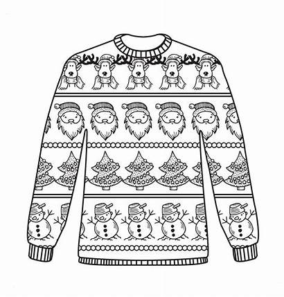 Sweater Ugly Christmas Colouring Coloring Sheets Jumper