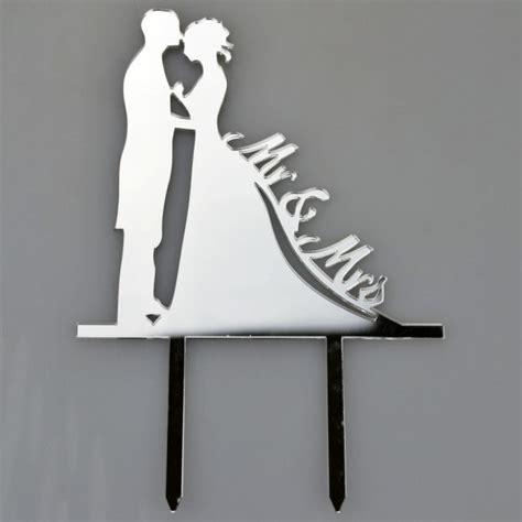 bride groom silver acrylic wedding day cake