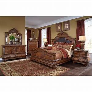 Michael amini tuscano melange 4pc queen size mansion for Michael amini bedroom furniture
