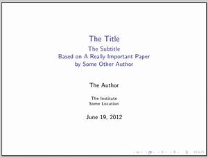 Conference name and paper ref in beamer title slide - TeX ...