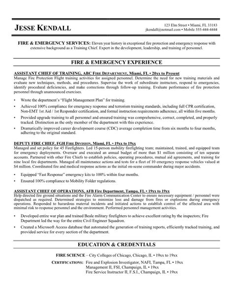 Firefighter Resume Objective Exles by 10 Sle Of Firefighter Resume Template Writing Resume