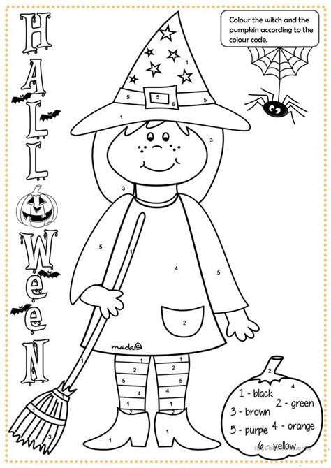 halloween witch colouring worksheet  esl printable