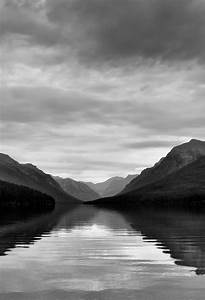 Bowman Lake and a Mountain View (Black & White) Wallpaper ...