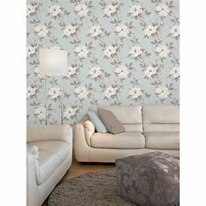 Fine Decor Magnolia Wallpaper Duck Egg Blue / White ...