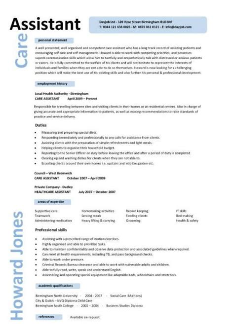 Pca Resume Summary by Care Assistant Cv Template Description Cv Exle Resume Curriculum Vitae Application