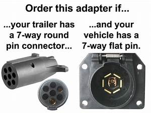 7-way Flat Pin To 7-way Round Pin Connector Adapter - Adapters