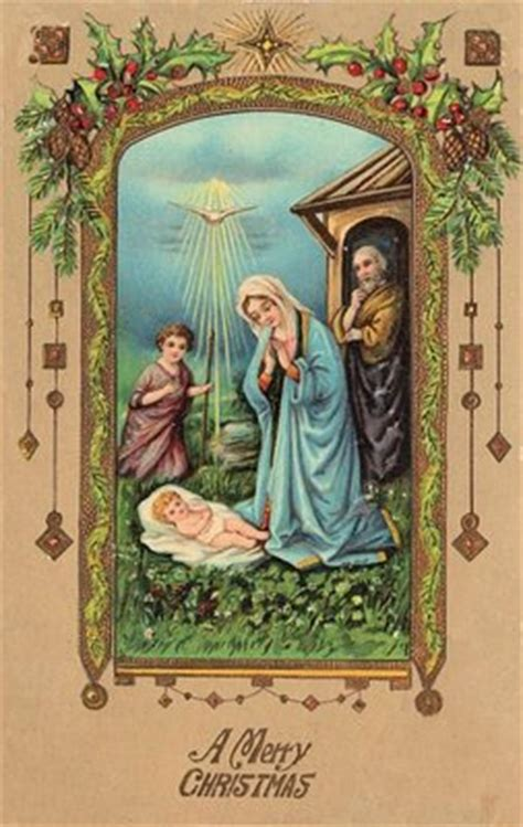 vintage christmas postcard baby jesus  graphics fairy
