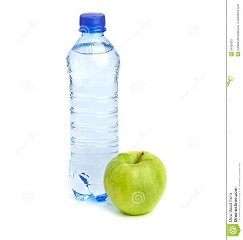 how much water is in an apple bottle of sparkling water and green apple stock image image 34558751