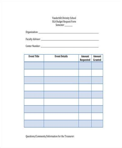 sample school budget forms   documents  word