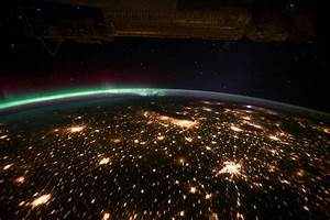 Midwestern U.S. at Night With Aurora Borealis (NASA ...