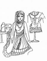 Sewing Coloring Seamstress Mediterranean Printable sketch template