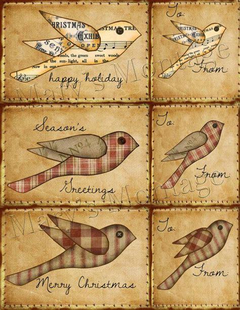 homespun christmas bird card tag sheet
