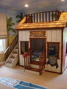Awesome bunk bed idea- surf shack! Hot tub/ Rec room
