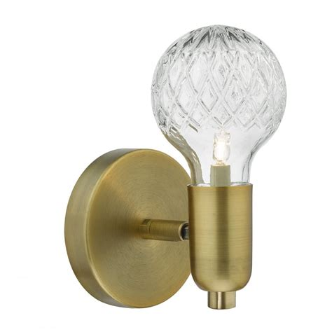 wre0775 1 light antique brass switched wall light