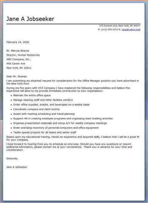Administration Manager Resume Cover Letter by 14 Cover Letter Sle For Office Administrator Basic Appication Letter
