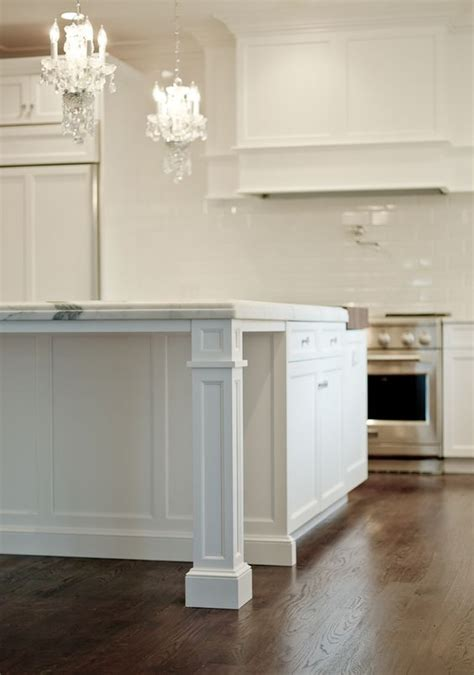 kitchen island posts granite countertop support with pillar white traditional 1985