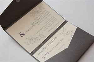 swirls silver grey purple pocketfold wedding invitation With wedding invitations pocket style uk