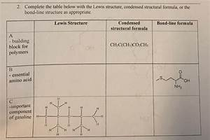 Solved  Complete The Table Below With The Lewis Structure