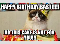 Happy Birthday Basti!!!! Grumpy Cat Birthday meme on Memegen