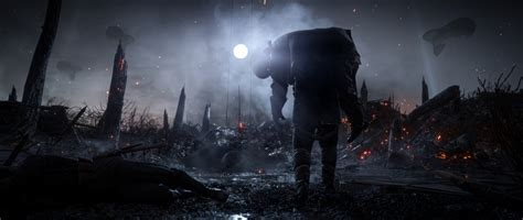 wallpaper battlefield  soldiers dark theme moon fog