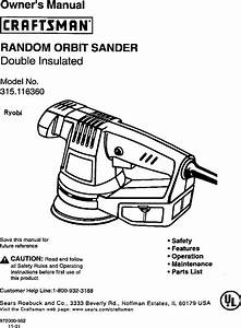 Craftsman 315116360 User Manual Random Orbit Sander