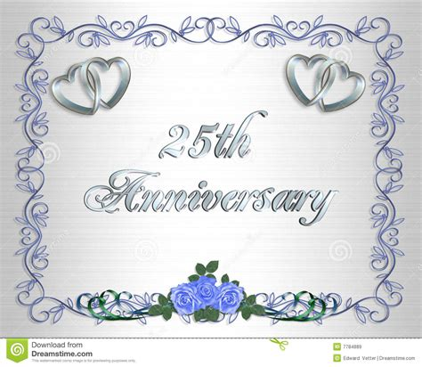 25th Wedding Anniversary Border Invitation Stock