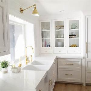 white kitchen cabinets gold pulls design ideas With kitchen cabinet trends 2018 combined with modern silver candle holders