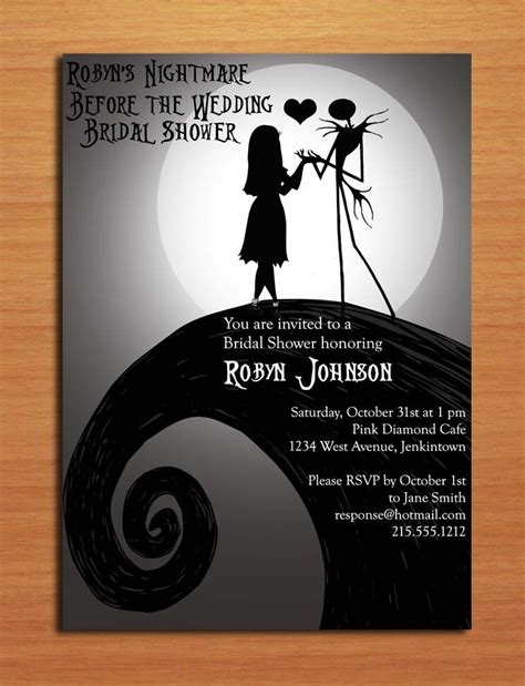 nightmare before christmas bridal shower customized printable
