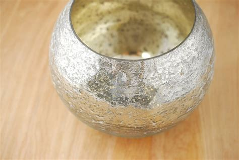 Glass Bowl Vase by Mercury Glass Bowl Vase 7in