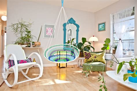 inspired papasan chair in living room eclectic with plant