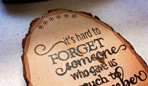diy woodburned tribute plaque   loved
