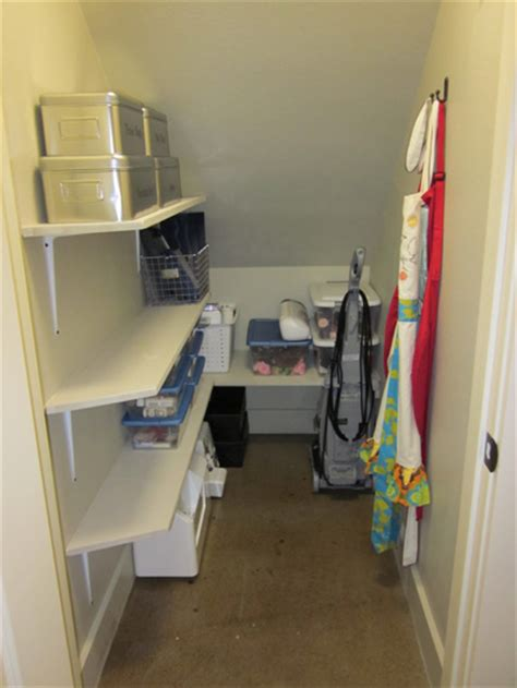 the stairs closet organization the craft closet finished shanty 2 chic