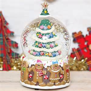 christmas tree gingerbread man musical snow globe dome by red berry apple notonthehighstreet com