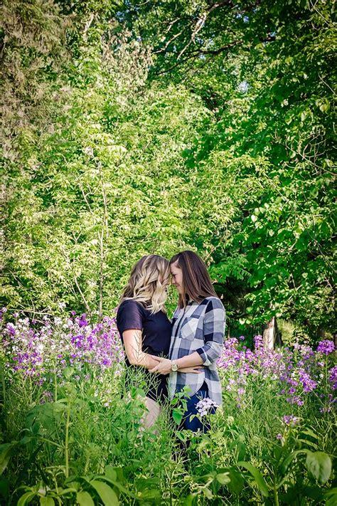 Outdoor Rustic Wisconsin Lesbian Engagement Shoot