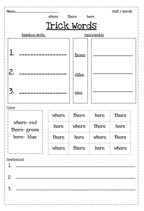 fundations supplement worksheets  st grade fundations trick words rainbow writing