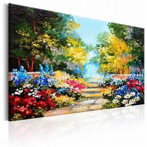 Blumen Bilder Gemalt : leinwand bilder xxl kunstdruck wandbild blumen garten wie gemalt c b 0118 b a ebay ~ Orissabook.com Haus und Dekorationen