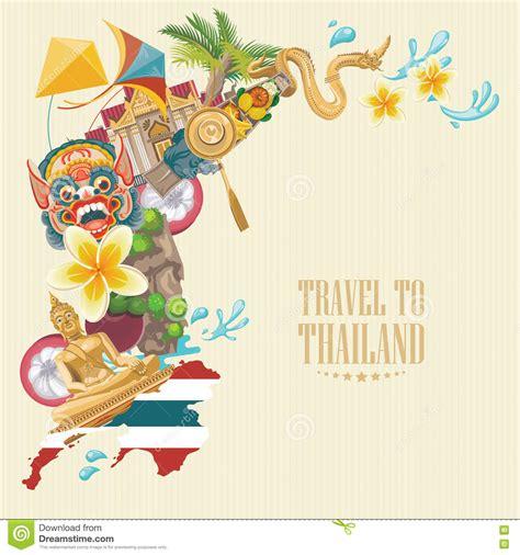 travel thailand landmarks  thailand map thai vector