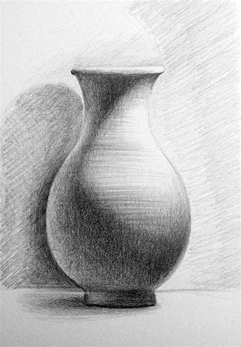 pencil drawing  life terracotta vase object