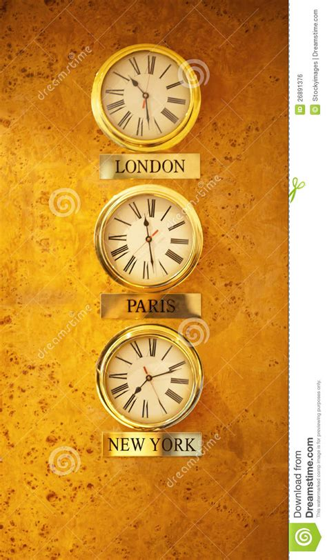 world clock   reception wall stock photo image