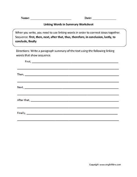 writing worksheets linking words worksheets