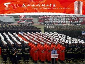 Chinese police parade during an