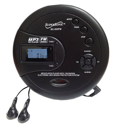 cd player mp3 supersonic personal cd disc player w mp3 fm scan radio 120