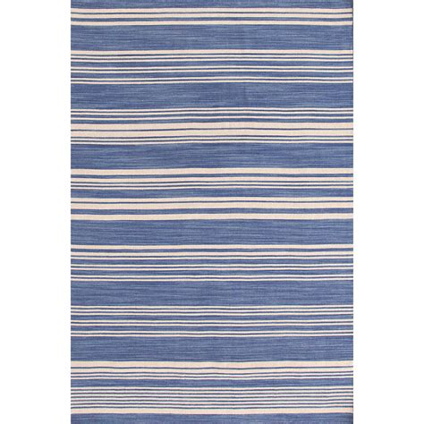 Cottage Stripe French Blue Wool Woven Rug Dash Albert