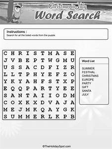 Template For Christmas In July Black And White Word Search Template