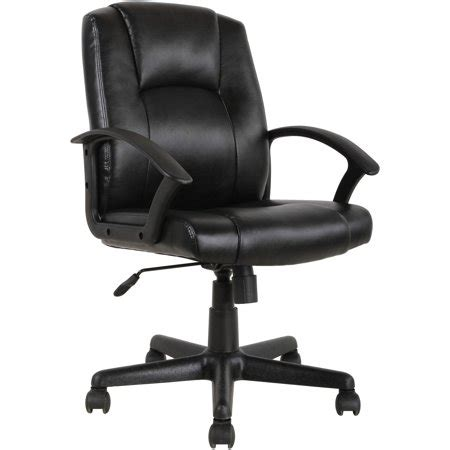 black leather desk chair mainstays mid back leather office chair black walmart