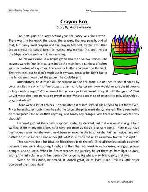 Reading Comprehension Worksheet  Crayon Box