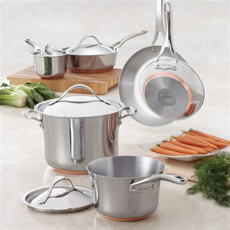 anolon  nouvelle copper stainless steel cookware set  oven safety induction suitable