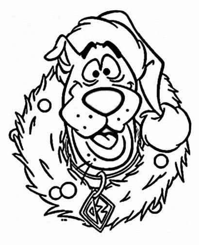Coloring Christmas Cartoon Pages Characters Scooby Printable