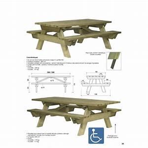 Table Bois Pique Nique : table pique nique pmr table pique nique pour personne mobilit r duite ~ Melissatoandfro.com Idées de Décoration