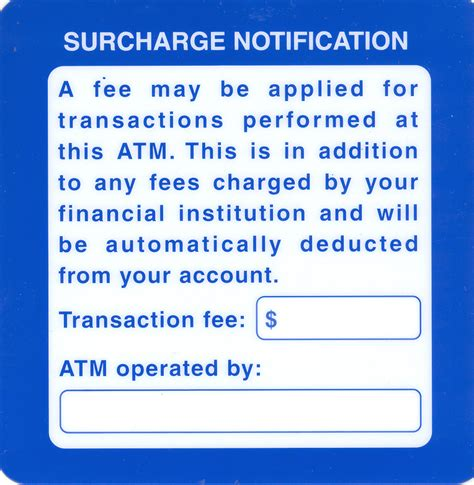 surcharge phone number atm surcharge notification decal atm surcharge